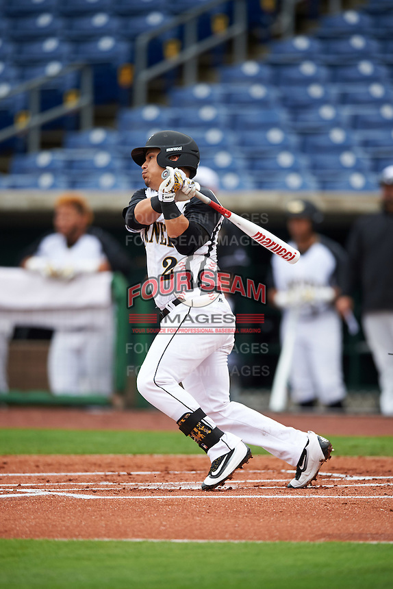 Alabama State Hornets Carlos Ocasio (2) at bat during a game against the Ball State Cardinals on February 18, 2017 at Spectrum Field in Clearwater, Florida.  Ball State defeated Alabama State 3-2.  (Mike Janes/Four Seam Images)