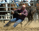 Ronnie Williams digs in during steer wrestling competition at the Southeast Weld County CPRA Rodeo in Keenesburg, Colorado on August 12, 2006.
