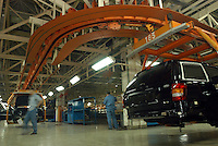 "Workers work in the production line of ""Grand Cherokee"" of Chrysler in the Beijing Jeep factory."
