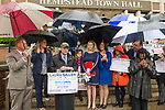 Hempstead, New York, USA. May 22, 2017. At podium Nassau County Democratic Committee Chairman JAY JACOBS announces Town of Hempstead slate: LAURA GILLEN for Town Supervisor, DOROTHY GOOSBY (1st D), SUE MOLLER (6th D), DOUGLAS MAYER (4th D) for Hempstead Town Board, and SYLVIA CABANA Hempstead Town Clerk. Press Conference was at Hempstead Town Hall front entrance steps during strong rain.