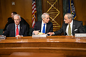 """United States Senator Ron Johnson (Republican of Wisconsin), left, US Senator Rob Portman (Republican of Ohio), center, and US Senator Tom Carper (Democrat of Delaware), right, prior to hearing testimony before the US Senate Committee on Homeland Security and Governmental Affairs Permanent Subcommittee on Investigations during a hearing on """"Examining Private Sector Data Breaches"""" on Capitol Hill in Washington, DC on Thursday, March 7, 2019.<br /> Credit: Ron Sachs / CNP"""