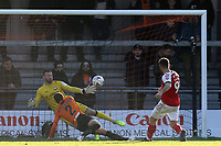 Ched Evans of Fleetwood Town scores the first goal during Barnet vs Fleetwood Town, Emirates FA Cup Football at the Hive Stadium on 10th November 2019