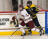 Megan Keller (BC - 4), Jessica Bonfe (Merrimack - 17) - The number one seeded Boston College Eagles defeated the eight seeded Merrimack College Warriors 1-0 to sweep their Hockey East quarterfinal series on Friday, February 24, 2017, at Kelley Rink in Conte Forum in Chestnut Hill, Massachusetts.The number one seeded Boston College Eagles defeated the eight seeded Merrimack College Warriors 1-0 to sweep their Hockey East quarterfinal series on Friday, February 24, 2017, at Kelley Rink in Conte Forum in Chestnut Hill, Massachusetts.