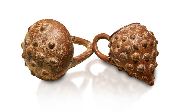 Bronze Age Anatolian terra cotta basket with handle & a beaker shaped as a bunch of grapes - 19th to 17th century BC - Kültepe Kanesh - Museum of Anatolian Civilisations, Ankara, Turkey.. Against a white background.