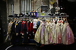 """Atmosphere & costumes backstage before The Rockefeller Foundation and The Gilder Lehrman Institute of American History sponsored High School student #EduHam matinee performance of """"Hamilton"""" at the Richard Rodgers Theatre on October 25, 2017 in New York City."""
