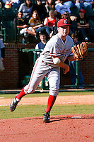 NASHVILLE, TENNESSEE-Feb. 26, 2011: Starter Dean McArdle of Stanford attempts to pick off a runner against Vanderbilt, during a game at Vanderbilt University in Nashville, Tennessee.  Vanderbilt defeated Stanford 8-7.