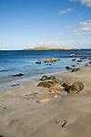 Rocks and sandy beach, Melby, near Sandness, Mainland, Shetland Islands, Scotland