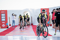 Esteban Chavez (COL/Mitchelton-Scott) at the stage start at the salt lake (factory) in Torrevieja <br /> <br /> Stage 1 (TTT): Salinas de Torrevieja to Torrevieja (13.4km)<br /> La Vuelta 2019<br /> <br /> ©kramon
