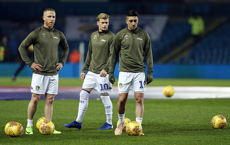 Leeds United's (from left) Adam Forshaw, Ezgjan Alioski and Pablo Hernandez during the pre-match warm-up <br /> <br /> Photographer Rich Linley/CameraSport<br /> <br /> The EFL Sky Bet Championship - Leeds United v Reading - Tuesday 27th November 2018 - Elland Road - Leeds<br /> <br /> World Copyright © 2018 CameraSport. All rights reserved. 43 Linden Ave. Countesthorpe. Leicester. England. LE8 5PG - Tel: +44 (0) 116 277 4147 - admin@camerasport.com - www.camerasport.com