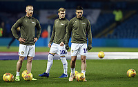 Leeds United's (from left) Adam Forshaw, Ezgjan&nbsp;Alioski and Pablo Hernandez during the pre-match warm-up <br /> <br /> Photographer Rich Linley/CameraSport<br /> <br /> The EFL Sky Bet Championship - Leeds United v Reading - Tuesday 27th November 2018 - Elland Road - Leeds<br /> <br /> World Copyright &copy; 2018 CameraSport. All rights reserved. 43 Linden Ave. Countesthorpe. Leicester. England. LE8 5PG - Tel: +44 (0) 116 277 4147 - admin@camerasport.com - www.camerasport.com