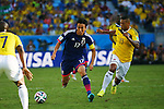 (L to R) <br /> Makoto Hasebe (JPN), <br /> Freddy Guarin (COL), <br /> JUNE 24, 2014 - Football /Soccer : <br /> 2014 FIFA World Cup Brazil <br /> Group Match -Group C- <br /> between Japan 1-4 Colombia <br /> at Arena Pantanal, Cuiaba, Brazil. <br /> (Photo by YUTAKA/AFLO SPORT)