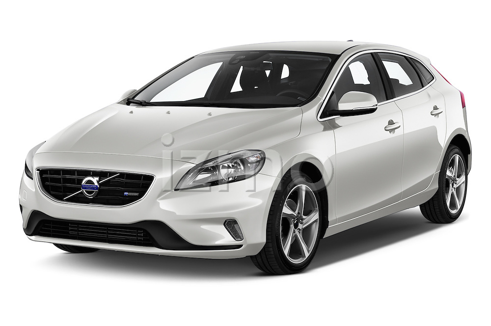 2015 Volvo V40 R-Design 5 Door Hatchback Angular Front stock photos of front three quarter view