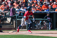 Gonzaga Bulldogs left fielder Isaac Barrera (17) starts down the first base line during a game against the Oregon State Beavers on February 16, 2019 at Surprise Stadium in Surprise, Arizona. Oregon State defeated Gonzaga 9-3. (Zachary Lucy/Four Seam Images)