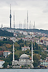 Istanbul, Turkey, Communication towers, mosque, Bosphorus Strait, ancient verses modern,
