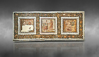 Picture of a Roman mosaics design depicting scenes from mythology, from the ancient Roman city of Thysdrus. End of 2nd century AD, House in Jiliani Guirat area. El Djem Archaeological Museum, El Djem, Tunisia. Against a grey background<br /> <br /> This Roman mosaic depicts Aurore enticing Cephane, Apollo enticing Cyrene and Apollo persuing Daphne