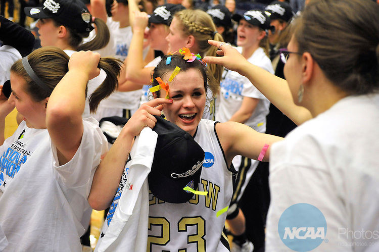 16 MAR 2013:  Kate Walker (23) of DePauw University celebrates their victory over the University of Wisconsin-Whitewater during the Division III Women's Basketball Championship held at the DeVos Fieldhouse in Holland, MI.  DePauw defeated Whitewater 69-51 for the national title.  Erik Holladay/NCAA Photos..
