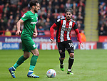 Kieron Freeman of Sheffield Utd during the championship match at the Bramall Lane Stadium, Sheffield. Picture date 28th April 2018. Picture credit should read: Simon Bellis/Sportimage
