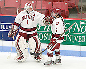 Laura Bellamy (Harvard - 1), Sarah Edney (Harvard - 3) - The Boston College Eagles defeated the Harvard University Crimson 4-2 in the 2012 Beanpot consolation game on Tuesday, February 7, 2012, at Walter Brown Arena in Boston, Massachusetts.