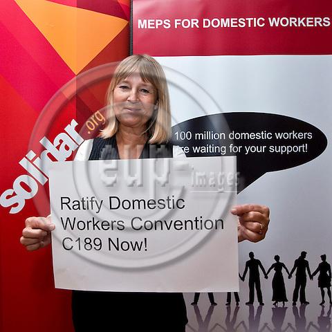 BRUSSELS - BELGIUM - 05 OCTOBER 2011 -- Solidar event at the EU- Parliament -- MEPs for Domestic Workers Convention. -- MEP Marita ULVSKOG --  PHOTO: Juha ROININEN /  EUP-IMAGES