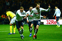Preston North End's Louis Moult celebrates scoring his side's third goal with team-mate Tom Barkhuizen (R)<br /> <br /> Photographer Richard Martin-Roberts/CameraSport<br /> <br /> The EFL Sky Bet Championship - Preston North End v Blackburn Rovers - Saturday 24th November 2018 - Deepdale Stadium - Preston<br /> <br /> World Copyright © 2018 CameraSport. All rights reserved. 43 Linden Ave. Countesthorpe. Leicester. England. LE8 5PG - Tel: +44 (0) 116 277 4147 - admin@camerasport.com - www.camerasport.com
