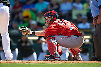 Boston Red Sox catcher Ryan Hanigan (10) during a Spring Training game against the Pittsburgh Pirates on March 9, 2016 at McKechnie Field in Bradenton, Florida.  Boston defeated Pittsburgh 6-2.  (Mike Janes/Four Seam Images)