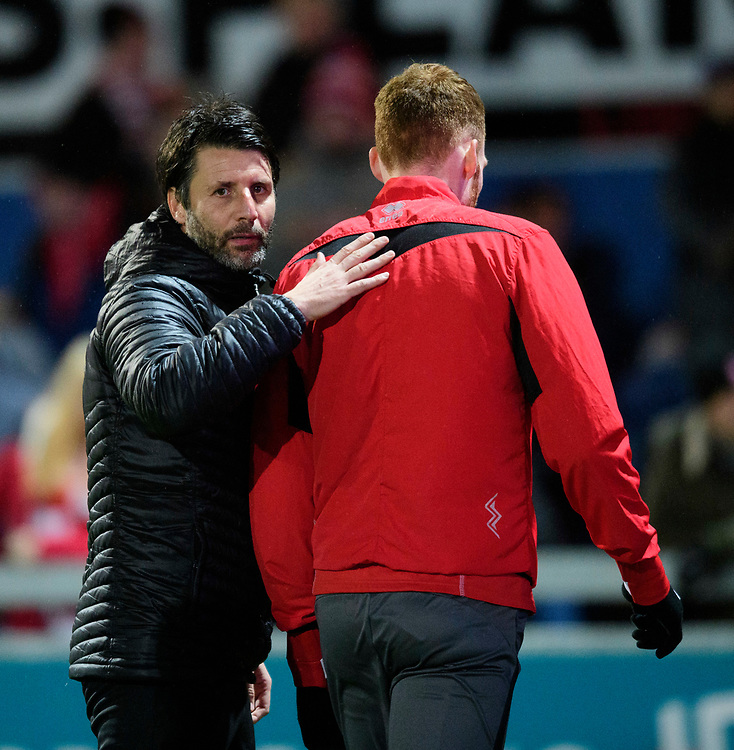 Lincoln City manager Danny Cowley with Lincoln City's Cian Bolger during the pre-match warm-up<br /> <br /> Photographer Chris Vaughan/CameraSport<br /> <br /> The EFL Sky Bet League Two - Mansfield Town v Lincoln City - Monday 18th March 2019 - Field Mill - Mansfield<br /> <br /> World Copyright © 2019 CameraSport. All rights reserved. 43 Linden Ave. Countesthorpe. Leicester. England. LE8 5PG - Tel: +44 (0) 116 277 4147 - admin@camerasport.com - www.camerasport.com