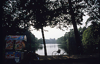 Morning scene on country road in Bandel, Hooghly