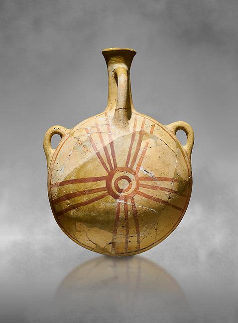 Bronze Age Anatolian decorated terra cotta water flask - Kültepe Kanesh - Museum of Anatolian Civilisations, Ankara, Turkey.