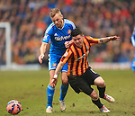 Sebastian Larsson of Sunderland takes down Billy Knott of Bradford to earn a yellow card - Bradford City vs. Sunderland - FA Cup Fifth Round - Valley Parade - Bradford - 15/02/2015 Pic Philip Oldham/Sportimage