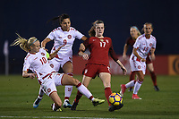 San Diego, CA - Sunday January 21, 2018: Pernille Harder, Nadia Nadim, Tierna Davidson prior to an international friendly between the women's national teams of the United States (USA) and Denmark (DEN) at SDCCU Stadium.