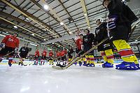 IJSHOCKEY: HEERENVEEN: IJsstadion Thialf, 26-11-2015, damesteam SC Heerenveen, UNIS Flyers speler Marco Postma gaf de dames een ijshockey-clinic, ©foto Martin de Jong
