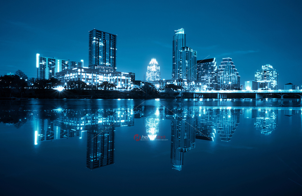 Night view of the downtown Austin Skyline high tech center in Austin Texas