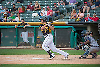 Josh Rutledge (8) of the Salt Lake Bees at bat against the Colorado Springs Sky Sox in Pacific Coast League action at Smith's Ballpark on May 24, 2015 in Salt Lake City, Utah.  (Stephen Smith/Four Seam Images)