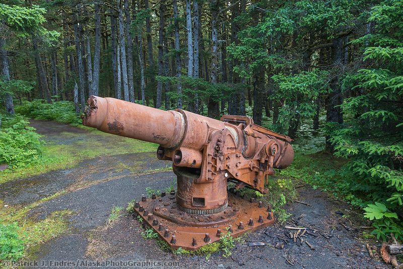 A relic canon from World War II remains by Canon beach, Yakutat, Southeast, Alaska