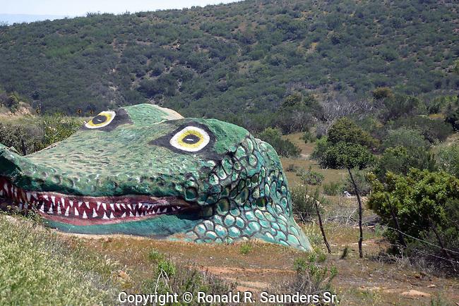 Gigantic alligator sculpture carved into rock <br /> (2)