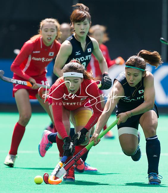 ANTWERP -    Jungeun Seo (l) of Korea  and Akiko Kato (r)  of Japan during  the hockeymatch   Japan vs Korea WSP COPYRIGHT KOEN SUYK