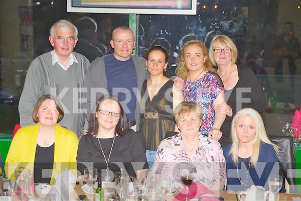 GREYHOUND FUN: Enjoying great fun at the Kerry General Hospital Palliative Care Benefit NIght at the Dogs at the Kingdom Greyhound Stadiumon Saturday seated l-r: Margaret Boyle, Julia O'Halloran, Mary O'Halloran and Lisa Edge. Back l-r: Arthur Boyle, James O'Halloran, Rute O'Halloran, Catherine O'Halloran and Christina Edg