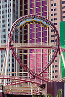 Las Vegas, Nevada.  Roller Coaster at the New York New York Hotel and Casino.