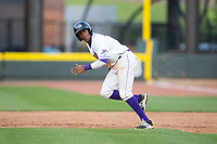 Luis Alexander Basabe (16) of the Winston-Salem Dash takes off for second base during the game against the Myrtle Beach Pelicans at BB&T Ballpark on May 11, 2017 in Winston-Salem, North Carolina.  The Pelicans defeated the Dash 9-7.  (Brian Westerholt/Four Seam Images)