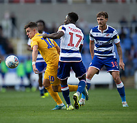 Preston North End's Josh Harrop (left) under pressure from Reading's Andy Yiadom (centre)<br /> <br /> Photographer David Horton/CameraSport<br /> <br /> The EFL Sky Bet Championship - Reading v Preston North End - Saturday 19th October 2019 - Madejski Stadium - Reading<br /> <br /> World Copyright © 2019 CameraSport. All rights reserved. 43 Linden Ave. Countesthorpe. Leicester. England. LE8 5PG - Tel: +44 (0) 116 277 4147 - admin@camerasport.com - www.camerasport.com