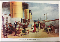BNPS.co.uk (01202 558833)<br /> Pic: HAldridge/BNPS<br /> <br /> Second class promenade deck.<br /> <br /> Incredibly rare illustrations and photos of the opulent surroundings of the Titanic have come to light in two brochures which describe the doomed ship as 'practically unsinkable.'<br /> <br /> The colour drawings depict the plush accommodation and facilities that first and second class passengers enjoyed on the luxury liner.<br /> <br /> They offer rare glimpses of the promenade deck, reading room, swimming baths, smoking room, main staircase, the Turkish bath, state room and parlour suit accommodation, dining room and reception room.<br /> <br /> Alongside the images there is an equally scarce copy of the sailing schedule for the doomed ship, highlighting its 'lost' trans-Atlantic service.<br /> <br /> The itinerary shows the Titanic would have gone on to make four trips from Southampton to New York between April to July 1912 had it not sunk on its maiden voyage with the loss of 1,522 lives.<br /> <br /> The two brochures and sailing schedule have now been put up for sale 105 years after the tragedy. They have a pre-sale estimate of a combined &pound;20,000.
