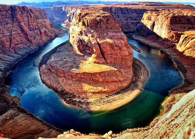 The Colorado River winds through Horseshoe Bend just outside of Page, AZ