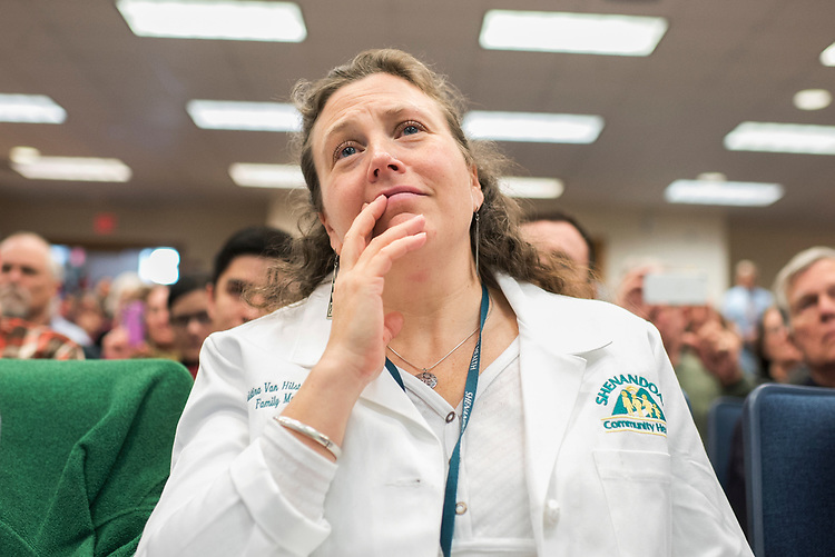 UNITED STATES - MARCH 16: Nurse practitioner Christina Van Hilst attends a town hall meeting with Sen. Joe Manchin, D-W.Va., at the WVU Robert C. Byrd Health Sciences Center in Martinsburg, W.Va., March 16, 2017. Much of the discussion was regarding the American Health Care Act, the Republican's plan to repeal and replace the ACA. (Photo By Tom Williams/CQ Roll Call)