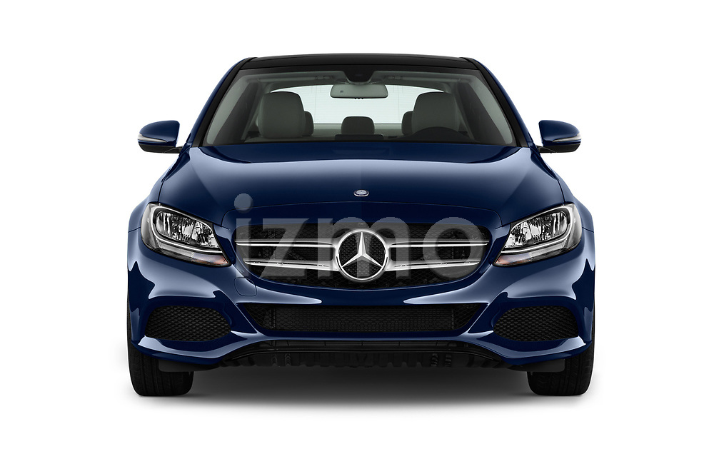 Car photography straight front view of a 2017 Mercedes Benz C Class Base 4 Door Sedan