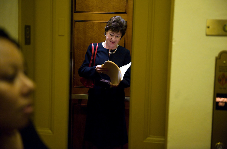 UNITED STATES - SEPTEMBER 21:  Sen. Sue Collins, R-Me., rides an elevator from the basement of the Capitol to the senate luncheons. (Photo By Tom Williams/Roll Call via Getty Images)