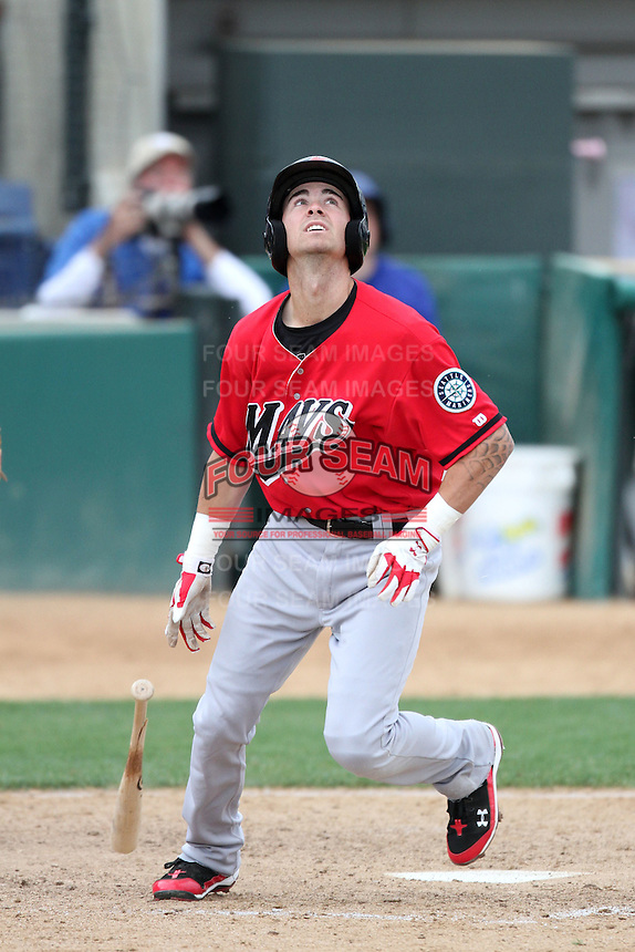 Nick Franklin #4 of the High Desert Mavericks bats against the Rancho Cucamonga Quakes at The Epicenter in Rancho Cucamonga,California on May 8, 2011. Photo by Larry Goren/Four Seam Images