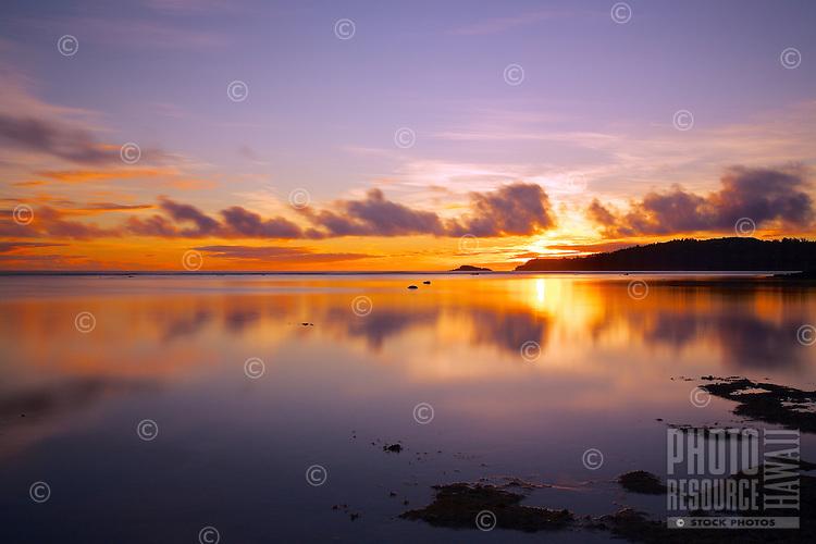 A new day dawns in purple and gold over calm seas at Anini Beach, Kaua'i.