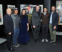 "NEW YORK - DECEMBER 5: L-R: Editor Bob Eisenhardt, climber/director Jimmy Chin, director E. Chai Vasarhelyi, actor Hugh Jackman, climber Alex Honnold and producer Evan Hayes attend a screening of National Geographic Documentary Films ""Free Solo"" at the Walter Reade Theater on December 5, 2018 in New York City. (Photo by Stephen Smith/National Geographic/PictureGroup)"