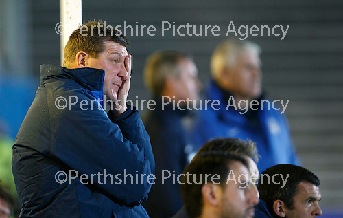 Greenock Morton v St Johnstone...27.10.15  League Cup Quarter Final, Cappielow...<br /> A tough night for Tommy Wright<br /> Picture by Graeme Hart.<br /> Copyright Perthshire Picture Agency<br /> Tel: 01738 623350  Mobile: 07990 594431