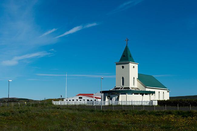 The Reykjahlid church in Reykjahlid at Lake Myvatn in Northeast Iceland.